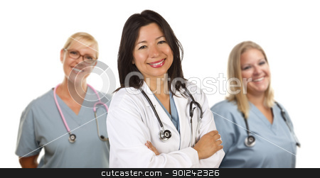 Hispanic Female Doctor and Colleagues Behind stock photo, Friendly Hispanic Female Doctor and Colleagues Behind Isolated on a White Background. by Andy Dean