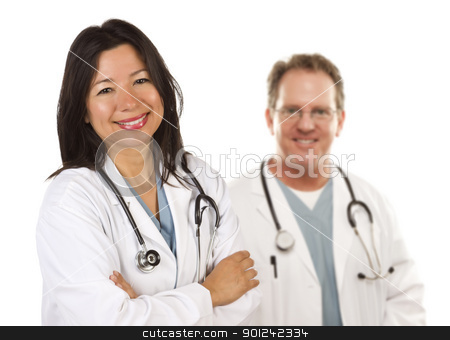 Hispanic Female Doctor and Male Colleague Behind stock photo, Friendly Hispanic Female Doctor and Male Colleague Behind Isolated on a White Background. by Andy Dean
