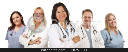 Hispanic Female Doctor and Colleagues stock photo, Friendly Hispanic Female Doctor and Colleagues Isolated on a White Background. by Andy Dean
