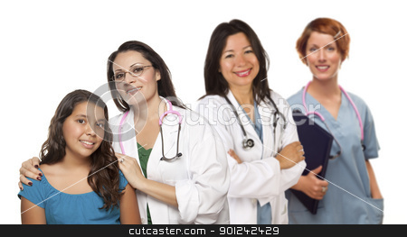 Hispanic Female Doctor with Child Patient and Colleagues Behind stock photo, Pretty Hispanic Female Doctor with Child Patient and Colleagues Behind Isolated on a White Background. by Andy Dean