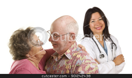 Senior Couple with Medical Doctor or Nurse Behind stock photo, Happy Loving Senior Couple with Smiling Hispanic Medical Doctor or Nurse Behind Isolated on a White Background. by Andy Dean