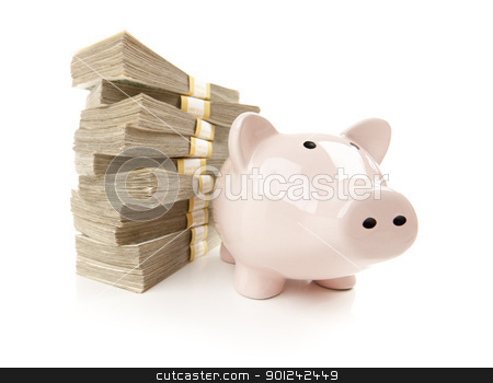 Pink Piggy Bank with Stacks of Money stock photo, Pink Piggy Bank with Stacks of Hundreds of Dollars Isolated on a White Background. by Andy Dean