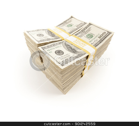 Stacks of One Hundred Dollar Bills stock photo, Stacks of One Hundred Dollar Bills Isolated on a White Background. by Andy Dean