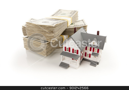 Small House with Stacks of Hundred Dollar Bills stock photo, Small House with Stacks of Hundred Dollar Bills Isolated on a White Background. by Andy Dean