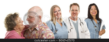 Senior Couple with Medical Doctors or Nurses Behind stock photo, Happy Loving Senior Couple with Smiling Medical Doctors or Nurses Behind Isolated on a White Background. by Andy Dean
