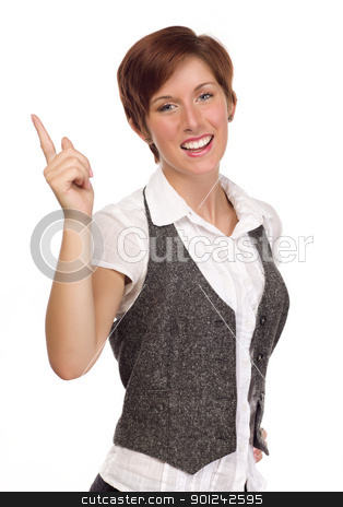 Pretty Smiling Young Adult Female Pointing Up and Over stock photo, Pretty Smiling Young Red Haired Adult Female Pointing Up and Over Isolated on a White Background. by Andy Dean