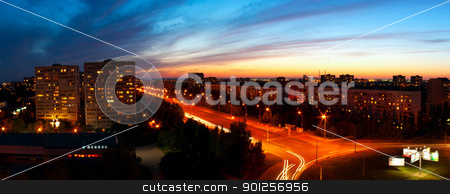Panoramic night city stock photo, Panoramic night city. Beautiful city evening landscape by Imaster