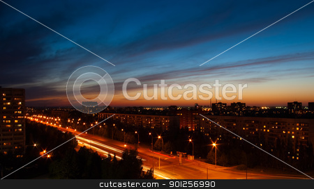 Night city stock photo, Beautiful city evening landscape by Imaster