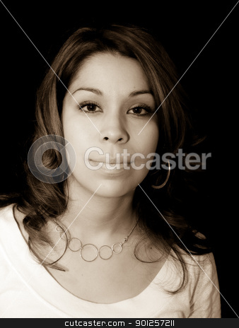 Hispanic lady stock photo, Portrait of a girl looking directly into the camera by Cora Reed