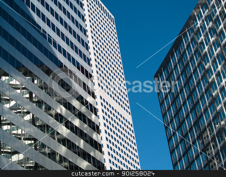 Tall buildings stock photo, Office buildings in a downtown business district by Cora Reed