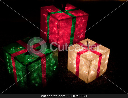 Christmas stock photo, Red, green, and white lighted gift boxes for Christmas by Cora Reed