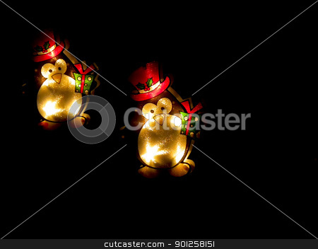 Christmas Lights stock photo, Happy little penguin Christmas lights on black by Cora Reed
