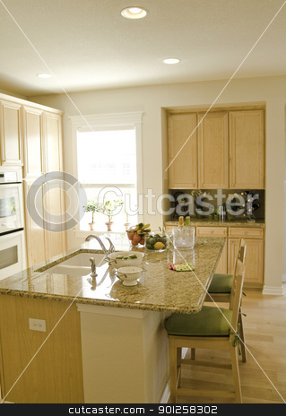 Kitchen stock photo, modern kitchen with light colored cabinets by Cora Reed