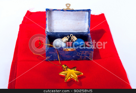 Xmas decoration stock photo, Xmas decoration in a old box on a red fabric by Imaster