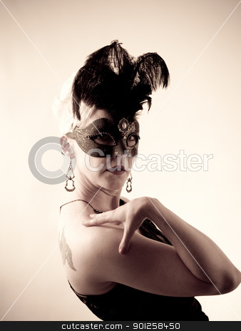 Carnival Mask stock photo, Beautiful woman by Cora Reed