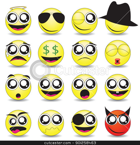 smileys stock vector clipart, vector set of various smileys by Emir Simsek