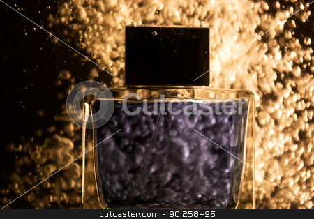Transparency container in water stock photo, Transparency container with scented water in a bubbles by Imaster