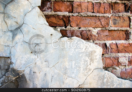 Cracked brick wall stock photo, Brick wall destroyed by time and weather conditions by Imaster