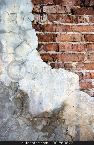 Destroyed brick wall stock photo, Brick wall destroyed by time and weather conditions by Imaster