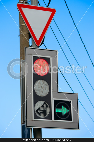 Traffic sign and traffic light stock photo, Traffic sign and traffic light against sky by Imaster