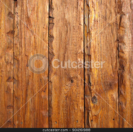 Exterior wooden plank stock photo, Weathered exterior wooden pine plank with knots and nails by Imaster