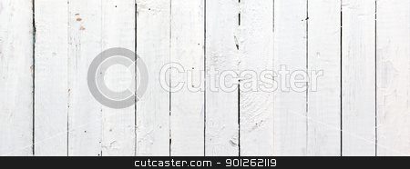 Panoramic white wooden plank stock photo, Panoramic weathered painted white wooden plank by Imaster