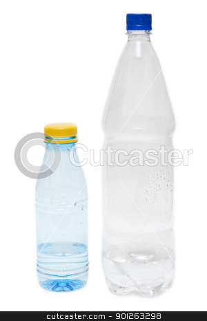 Two plastic bottles with water stock photo, Two plastic bottles with water on white background by Ruslan Kudrin