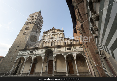 Pistoia (Tuscany), cathedral facade stock photo, Pistoia (Tuscany, Italy), facade of the medieval cathedral by clodio