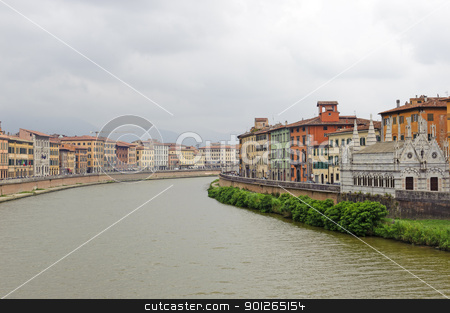 Pisa and the Arno river stock photo, Pisa (Tuscany, Italy) - Historic buildings along the Arno river by clodio