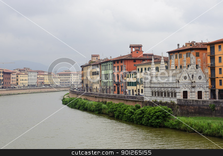 Pisa and the Arno river stock photo, Pisa (Tuscany, Italy), church of Santa Maria della Spina, along the Arno river by clodio