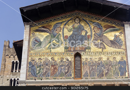 Lucca, San Frediano church: mosaic stock photo, Lucca (Tuscany, Italy), Basilica of San Frediano, facade mosaic by clodio