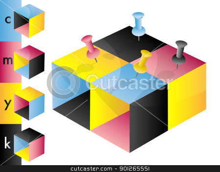 CMYK color profile blocks stock vector clipart, CMYK color profile blocks with drawing pins by TheModernCanvas