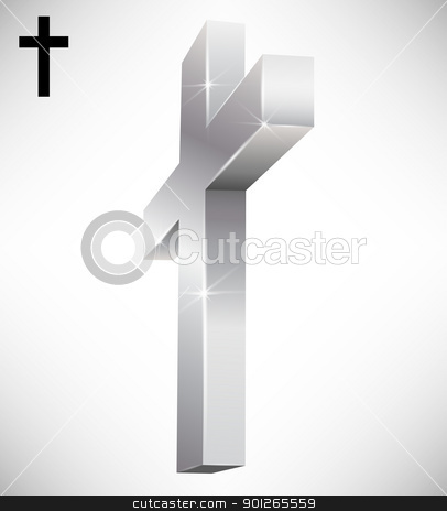 3d Cross stock vector clipart, Isolated silver 3d Christian cross by TheModernCanvas