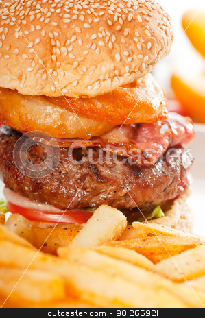 classic hamburger sandwich and fries stock photo, classic american hamburger sandwich with onion rings and french fries, MORE DELICIOUS FOOD ON PORTFOLIO by Francesco Perre