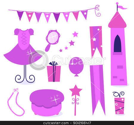 Cute icons for little princess Party isolated on white ( pink ) stock vector clipart, Princess party icons and elements set isolated on white. Vector   by Jana Guothova