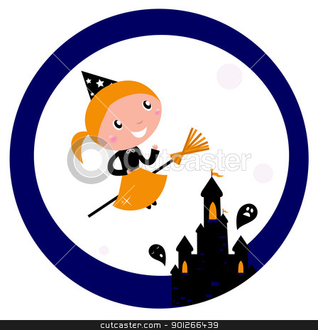 Halloween castle with Witch Girl flying around Moon stock vector clipart, Cute Witch girl flying around Halloween haunted castle. Vector cartoon Illustration.