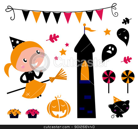 Halloween Witch Girl & items, icons and design elements  stock vector clipart, Cute little Halloween Witch, various items for celebration. Vector  by Jana Guothova