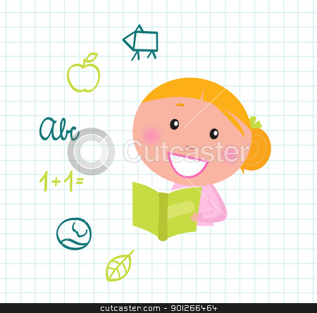 Cute reading blond Girl reading Book, School icons & elements Vector ...