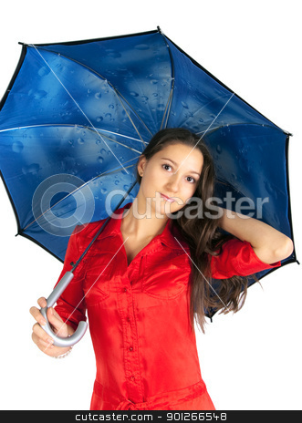 Beautiful girl with umbrella stock photo, Beautiful girl in a red dress with umbrella by Imaster