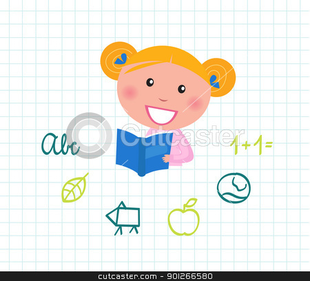 Little cute Child reading Book, School elements - isolated on wh stock vector clipart, Cute little reading School Girl with Book. Vector Illustration.  by BEEANDGLOW