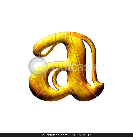 Golden small capital letter isolated