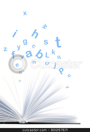 Book stock photo, Book with letters flying out of it by Lasse Kristensen@gmail.com