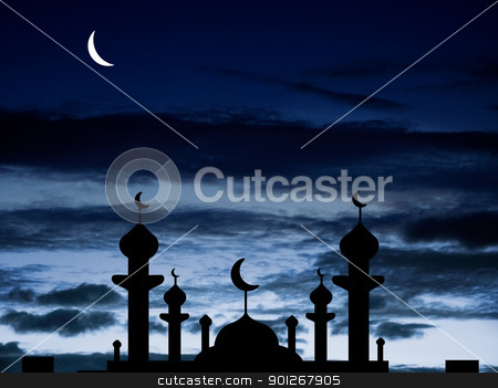 Half moon and a mosque stock photo, Half moon and a mosque by Lasse Kristensen@gmail.com