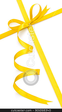 Yellow bow and ribbon stock photo, Yellow bow and ribbon by Lasse Kristensen@gmail.com