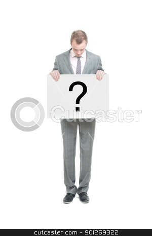 Business man stock photo, A business man holding a question mark by Lasse Kristensen@gmail.com