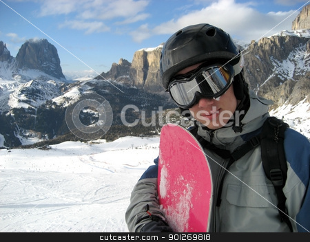 Snowboarder stock photo, A snowboarder alone on the piste by Lasse Kristensen@gmail.com