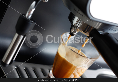 Espresso machine stock photo, Espresso machine brewing a coffee espresso by Lasse Kristensen@gmail.com