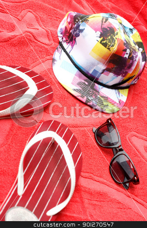Flip flops, sunglasses and a cap stock photo, A summer composition by Lasse Kristensen@gmail.com