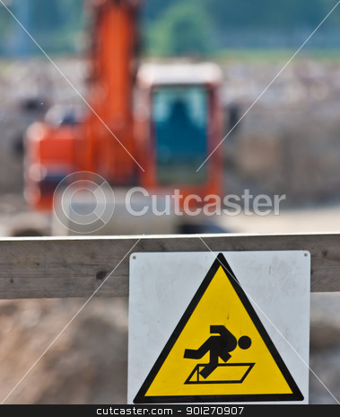 Work in progress: danger stock photo, Sign of danger for work in progress (Italian) in a building site by Perseomedusa