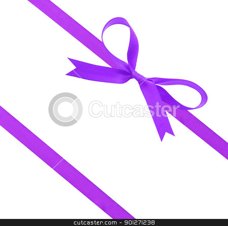 christmas ribbon and bow stock photo, Purple christmas ribbon and bow